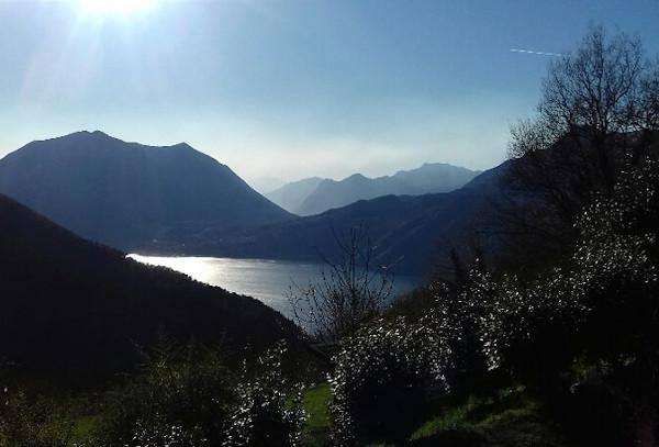vista del Lago di Como circondato dalle montagne