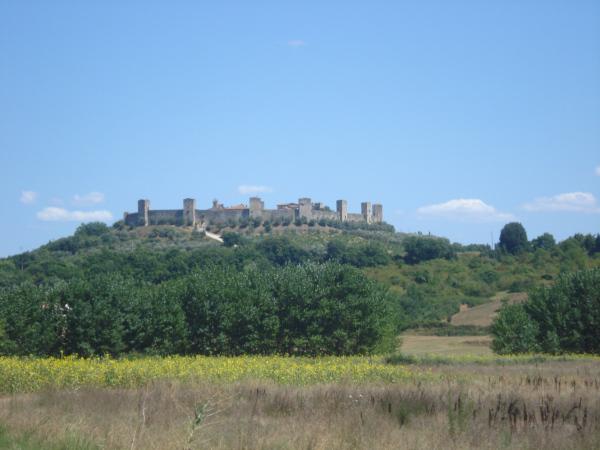 paesaggio con borgo sulla collina