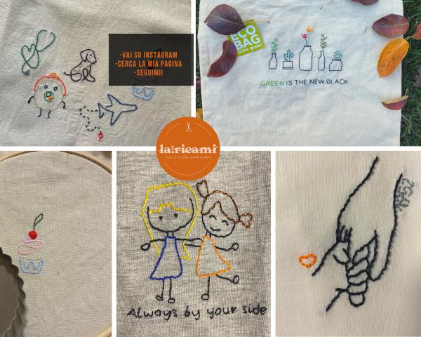 collage con vari ricami fatti a mano su magliette o borse